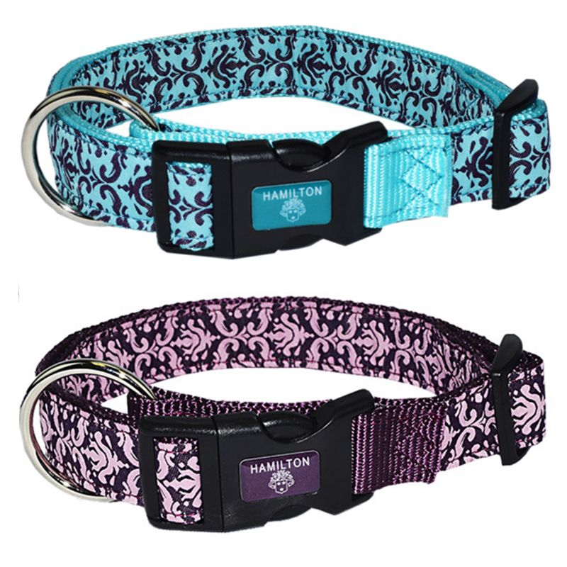 Image of Hamilton Adjustable Damask Dog Collar Large Blue