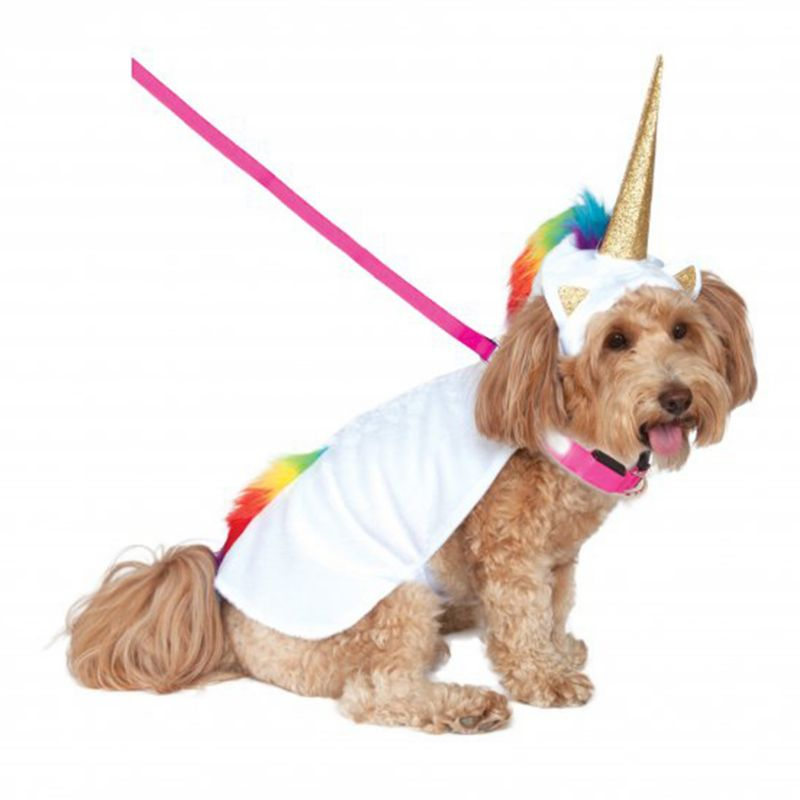 Image of Light Up Unicorn Cape with Hood Pet Costume Large