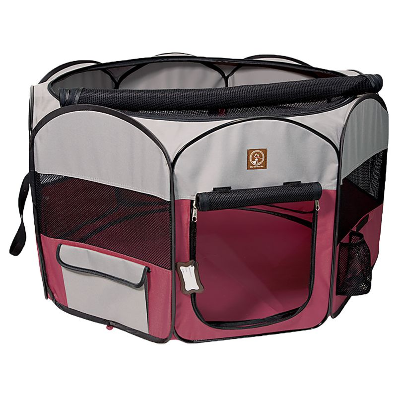 Image of One for Pets Fuschia/Grey Portable Pet Playpen LG