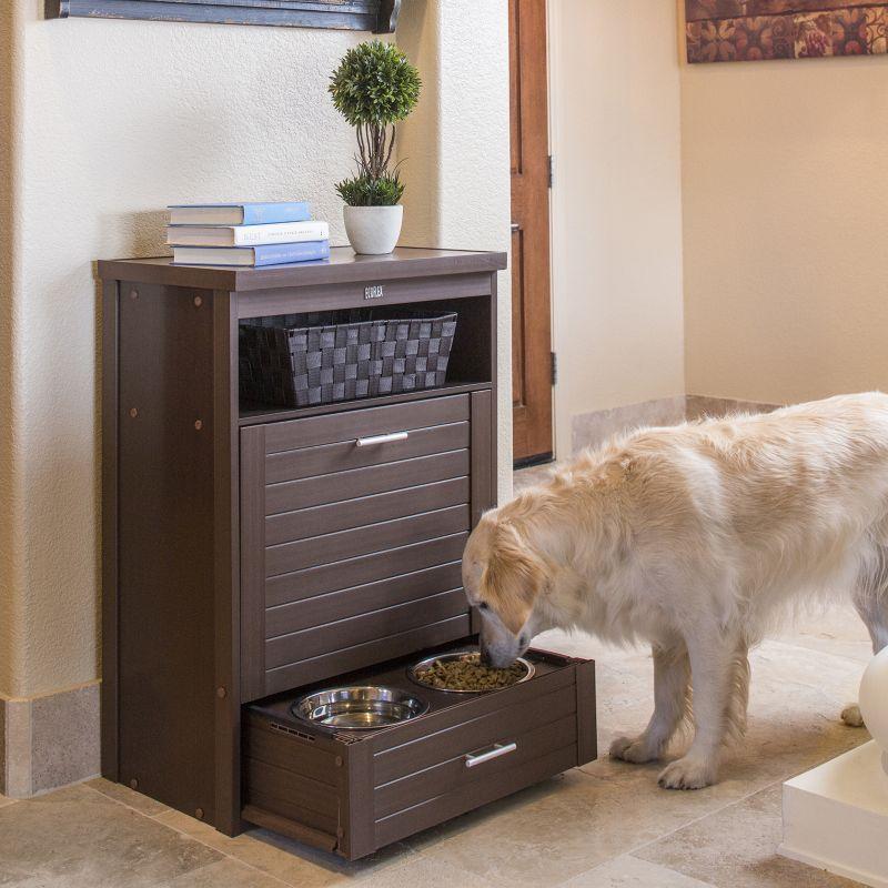 Artisan Rubberwood Double Elevated Dog Bowl Feeder: Dog Bowls