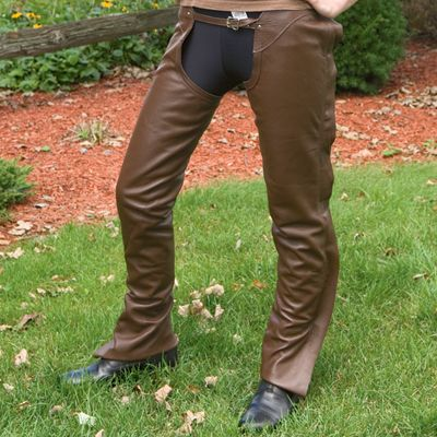 Smooth Leather Schooling Chaps Large Brown