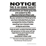 Supplemental Equine Liability Sign