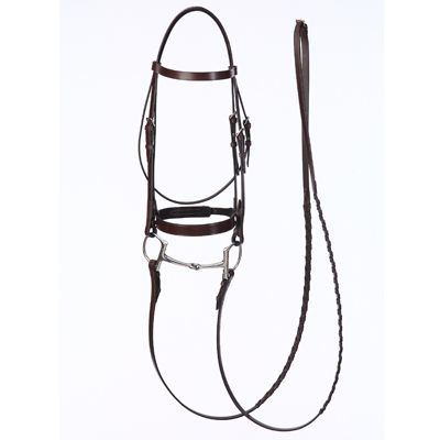 Courbette Snaffle Bridle w/French Caveson Cob