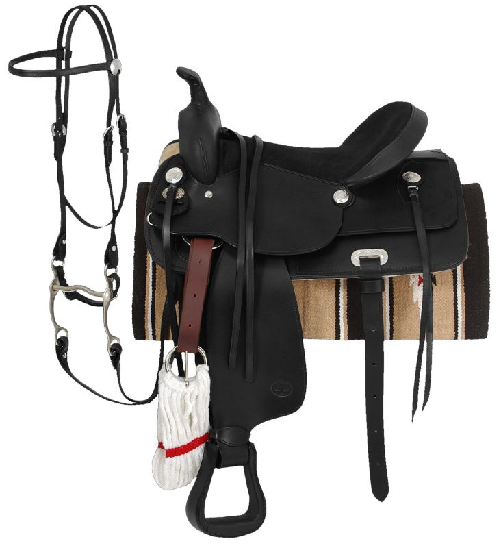 King Basic Leather Trail Saddle Package 17 Black