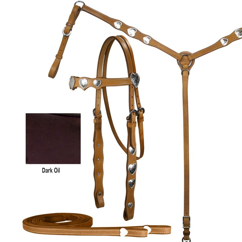 Tahoe Silver Heart Browband Western Show Set Drk O
