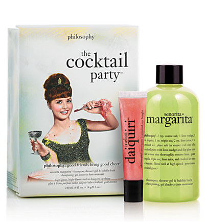 senorita margarita shower gel, melon daiquiri lip  - the cocktail party - bath & body value sets 2 pc.