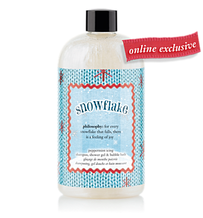 philosophy peppermint icing shampoo, shower gel & bubble bath - snowflake - bath & shower gels 16 oz.