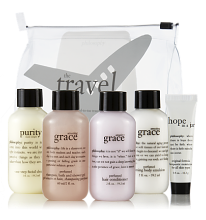 the travel agent 5 pc.  travel sized hope, purity & grace  philosophy