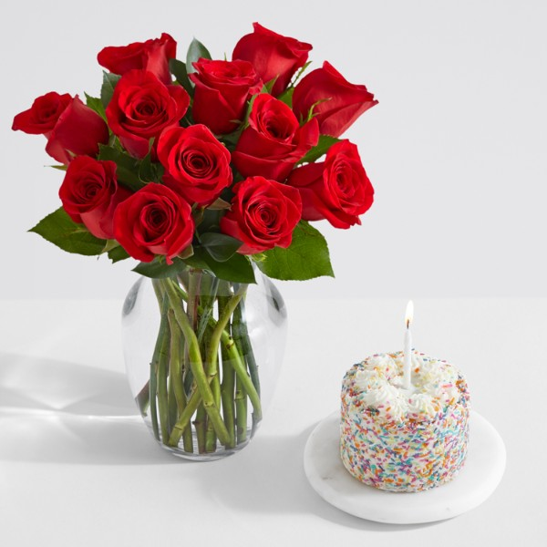 12 Red Roses with Petite Birthday Cake