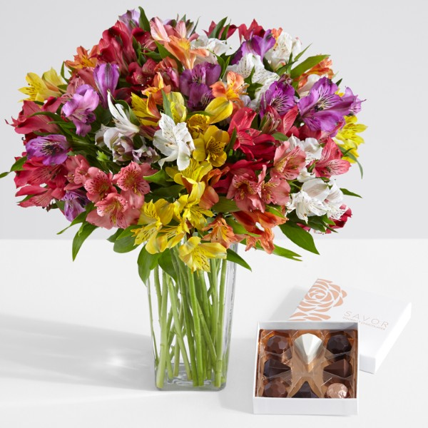 100 Blooms of Peruvian Lilies with Square Glass Vase and Chocolates
