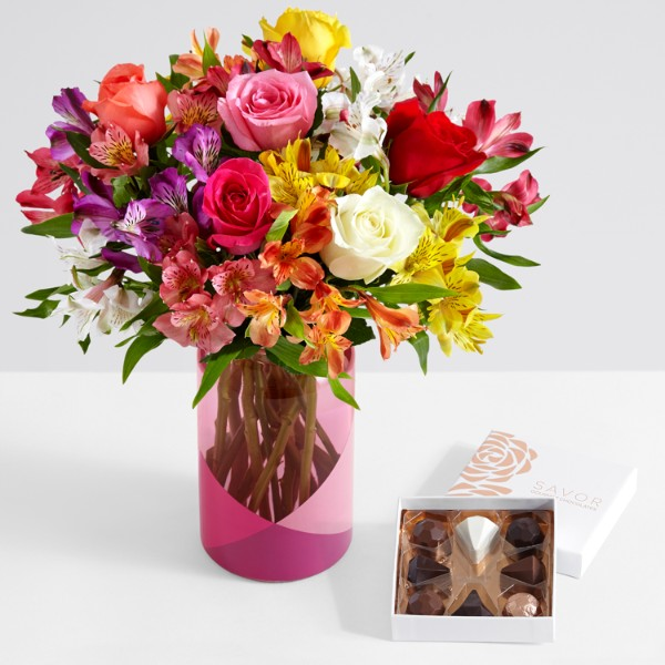 Smiles & Sunshine with Pink Geo Vase and Chocolates