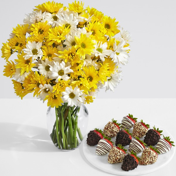 Yellow and White Daisies with 12 Fancy Strawberries