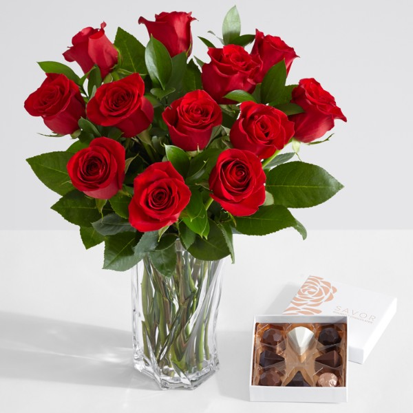 One Dozen Long Stemmed Red Roses with Brilliant Cut Glass Vase and Chocolates