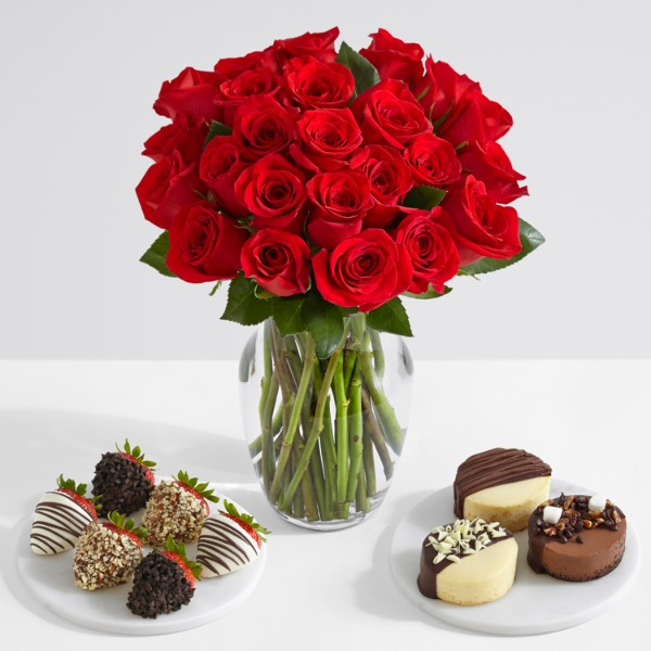 24 Red Roses with 6 Fancy Strawberries & Dipped Cheesecake Trio
