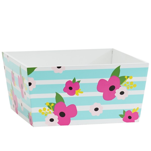 Stripes and Floral Wood Trug
