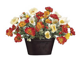 Orange and Yellow Poppies in Metal Pot