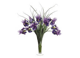 Irises and Grass in Glass Vase