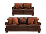 Foster Leather Sofa and Loveseat Set