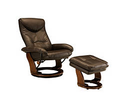 Clinton Bonded-Leather-Match Reclining Chair and Storage Ottoman