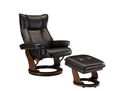 Cleveland Bonded-Leather-Match Reclining Chair and Storage Ottoman