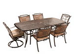 Cambria 7-pc. Rectangular Outdoor Dining Set w/ 4 Sling Chairs and 2 Swivel Rockers