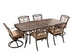 Cambria 7-pc. Rectangular Outdoor Dining Set w/ 4 Armchairs and 2 Swivel Rockers