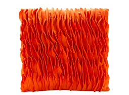 Parker Burnt Orange Ruffled Waves Throw Pillow