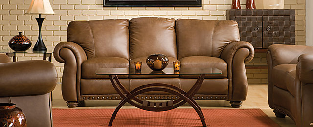 Elba Traditional Leather Living Room Collection Design