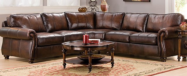 Art Van Furniture Living Room Sets: Van Gogh Traditional Leather Living Room Collection