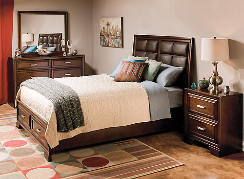 Levine 4 Pc Queen Platform Bedroom Set W Storage Bed Bedroom Sets Raymour And Flanigan