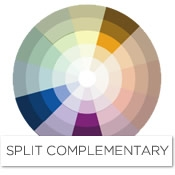 Color story decorating with gold split complementary - What colors compliment purple ...