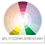 color story decorating with pink split complementary