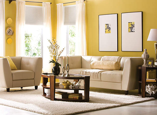 Color story decorating with yellow monochromatic for Living room ideas mustard