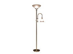 Brushed-Steel Torchiere Floor Lamp