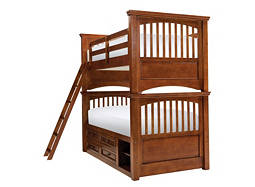 American Spirit Twin-Over-Twin Storage Bunk Bed