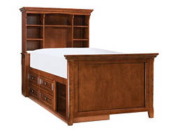 American Spirit Twin Storage Bookcase Bed