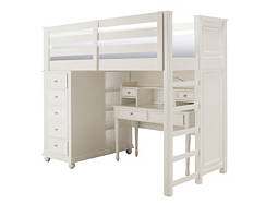Jamboree Twin Storage Loft Bed w/ Desk and Hutch