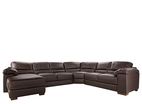 Cindy Crawford Maglie 4-pc. Leather Sectional Sofa : Sectional Sofas : Raymour and Flanigan ...