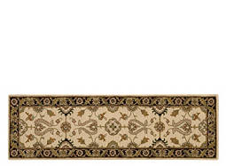 "India House 2'3"" x 7'6"" Beige & Black Runner Rug"