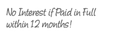 No Interest if Paid in Full within 12 months!