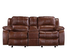 Bryant Leather-Match Reclining Glider Loveseat