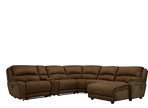 Cindy Crawford Mackenzie 6 Pc Microfiber Power Reclining Sectional Sofa Sectional Sofas