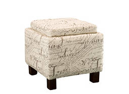 Script Flip-Top Storage Ottoman w/ Pillows