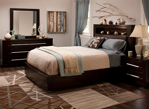 wall street 4 pc king bonded leather platform bedroom set