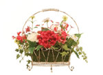 Mixed Flowers in a Wire Basket