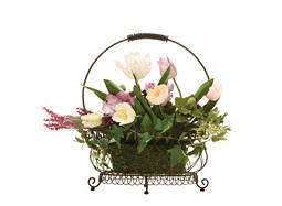 Tulips and Zinnia in a Wire Basket