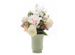 Mixed Flowers in Green Vase