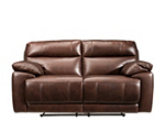 Deacon Leather-Match Reclining Loveseat