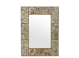 Antiqued w/ Red Flower Frame Mirror