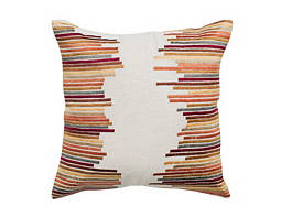 Striped Ivory and Multicolored Throw Pillow
